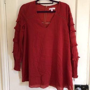 Burnt Red Long Sleeve Dress